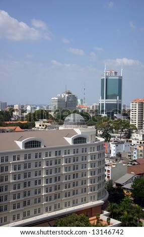 Overview of the buildings in the center of Saigon - stock photo