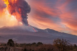 overview of the Etna volcano during the eruption of 16 February 2020