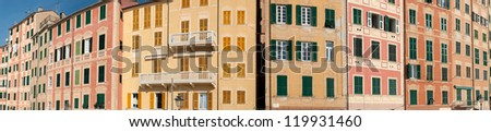overview of the houses in the village of Camogli in Italy