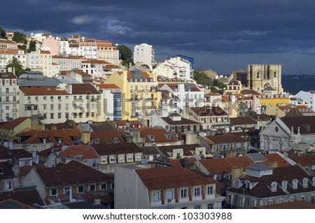 overview of the old part of lisbon, Portugal