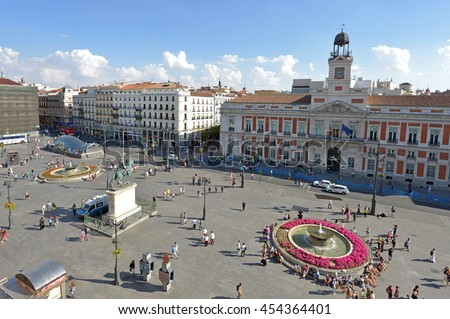 Shutterstock Overview of the Puerta del Sol, in the city center of Madrid, Spain