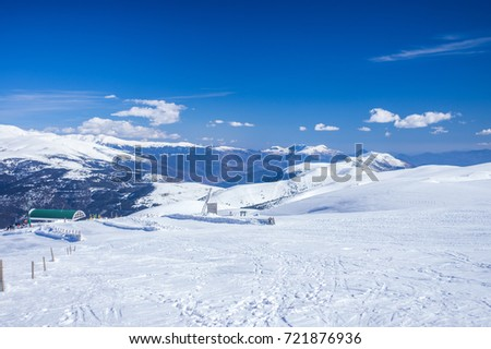Overview of the Pyrenees mountains from Tosa d'Alp in winter, Alp, Girona, Catalonia, Spain #721876936