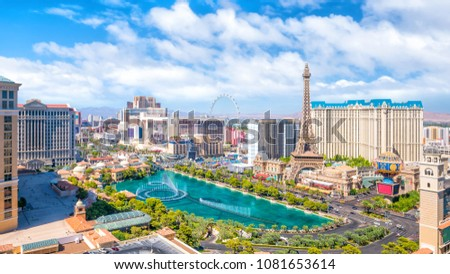 Overview of The Strip, Las Vegas skyline  in Nevada USA