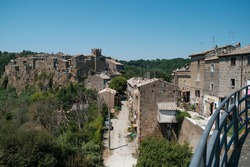 overview of the town of Calcata in the province of Viterbo, Lazio, Italy . High quality photo