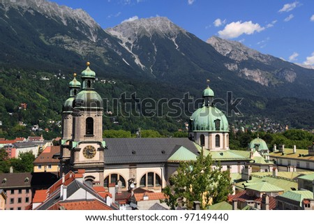 Overview on the Cathedral of Saint James in Innsbruck, Austria.