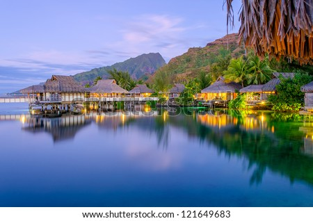 Overwater Bungalows at dusk, French Polynesia