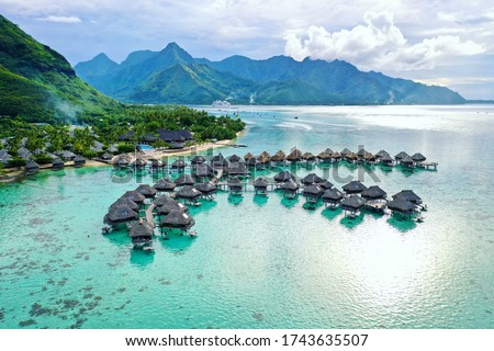 Overwater Bungalows in Mo'orea French Polynesia Stock photo ©