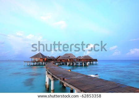 Overwater bungalows on the lagoon stock photo