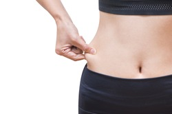 Overweight, Advertise, Healthy lifestyles concept - Woman pinching fat from her waist. isolated on white background