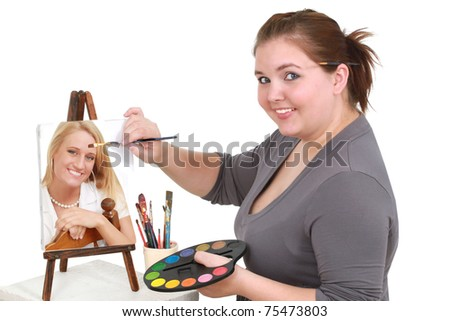 Overweight artist painting a picture-perfect of a young woman