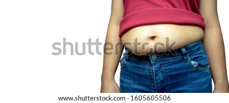 Overweight fat woman isolated on a white background in Studio, Weight losing, obesity, cellulite, health care concept. copy space background for text.