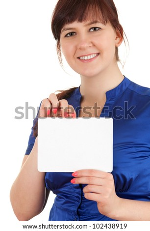 overweight, fat woman with blank sign, white background