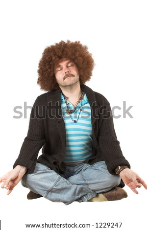 Overweight hippie in meditation pose