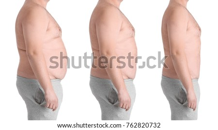 Overweight man before and after weight loss on white background #762820732