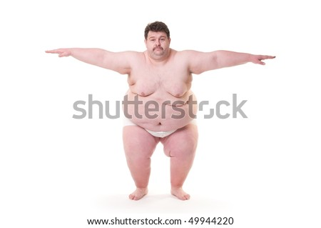 Overweight man doing excercise. Isolated on white.