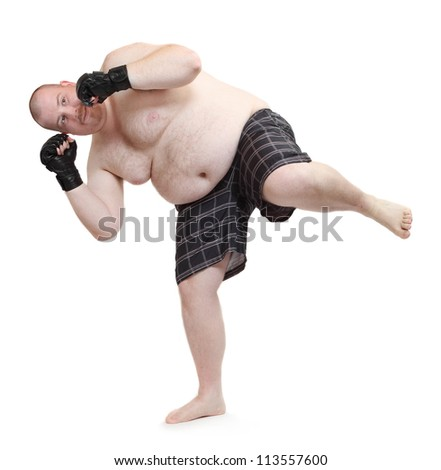 Overweight man exercising. Weight loss concept.