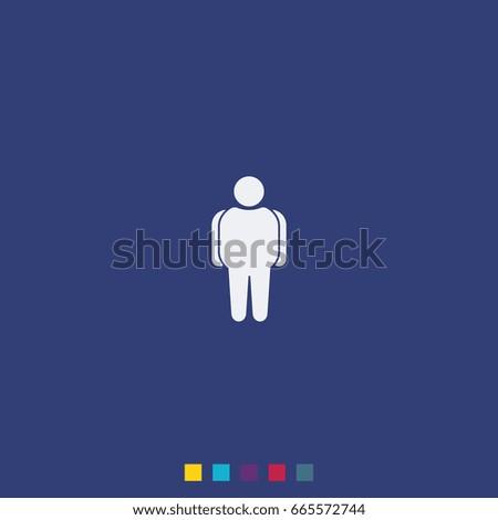 Overweight man icon. Flat illustration.