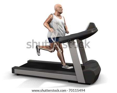 overweight man on the treadmill - visible skeleton