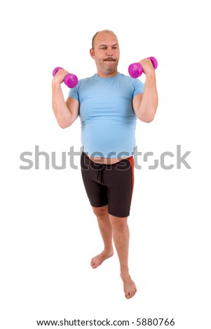 Overweight man with beer belly and very light hand weights