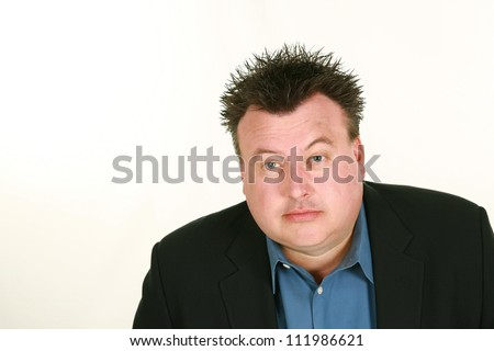 overweight man with raised eyebrows isolated on white