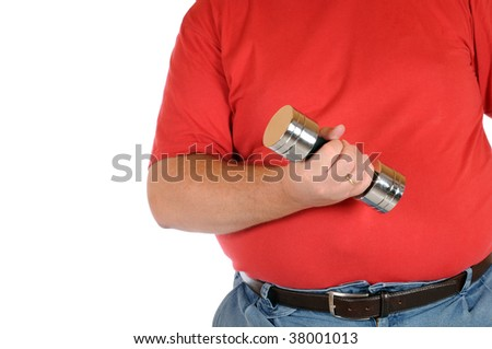 Overweight man with weights