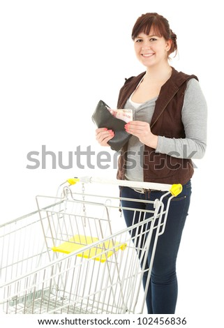 overweight shopping woman taking fifty euro from wallet, white background
