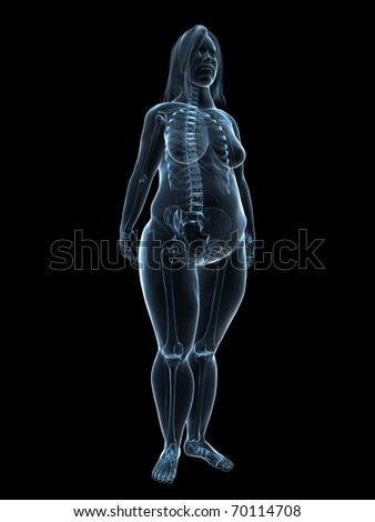 overweight woman - skeleton