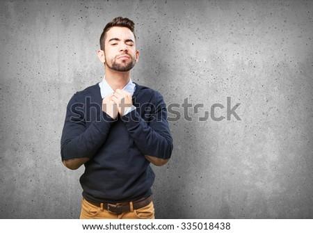 overwhelmed man on white #335018438