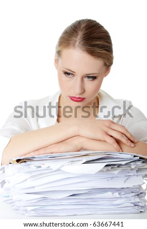 Overworked businesswoman isolated on white