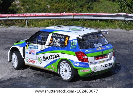 OVIEDO, SPAIN - SEPTEMBER 10: Alberto Hevia drives a Skoda Fabia S2000 car during Prince of Asturias rally championship on September 10, 2011 in Oviedo, Spain.