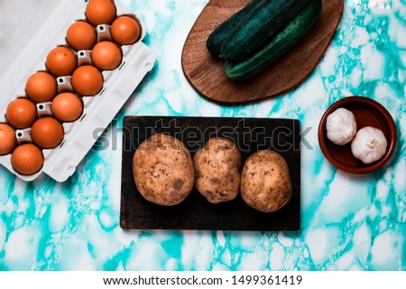 Ovo vegetarianism concept. Vegetarian foods for people who eat eggs.