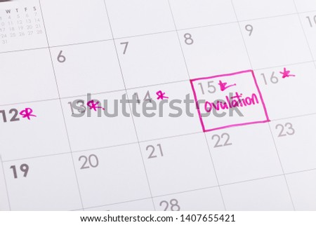 Ovulation date marked on calendar, trying to conceive   Stock photo ©