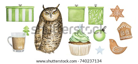 Stock Photo Owl collection, christmas symbol icon set. Gift boxes, gingerbread cookies (house, bird, snowflake), cupcake, star, coffee cup decorated with fir tree, christmas tree ball. Watercolor illustration.