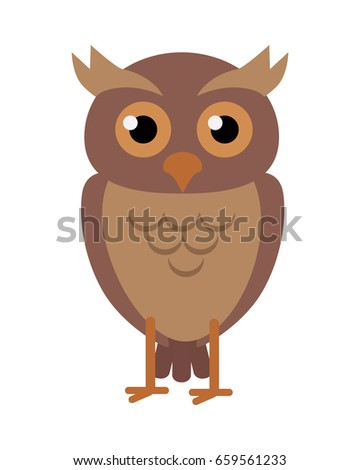 Owl flat style . Wild night predatory bird. World fauna species. Eagle-owl cartoon character. For nature concepts, children's books illustrating, printing materials. Isolated on white background