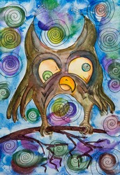 owl inadequate crazy color big eyes drawing watercolor