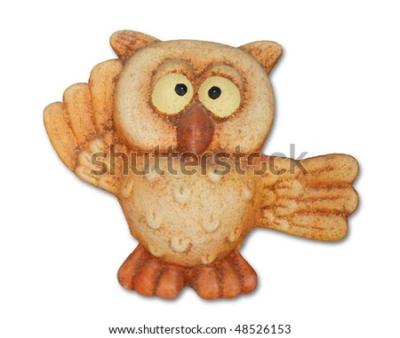 Owl isolated on white background. Symbol of good luck.
