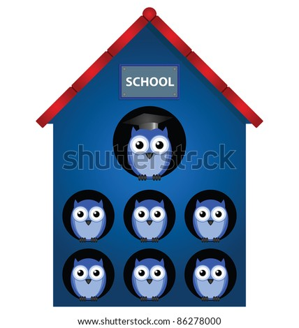 Owl teacher and owl pupils in school