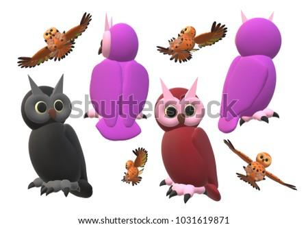 Owls in 3D illustration #1031619871