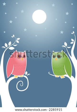 Owls looking longingly into eachother's eyes under a bright full moon