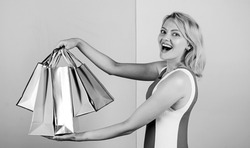 Own business. special offer on black friday. shop closeout. happy woman shopper. big sale. female shopaholic hold shopping bags. present packages for holiday preparation. summer discount.