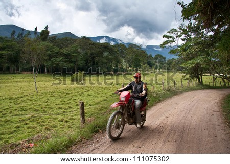 OXAPAMPA, PERU - SEPT 24: The motorcycle is the most used means of transport in the Amazon of Peru, in Sept. 24, 2012 in Oxapampa, Peru.