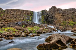 Oxararfoss waterfall in HDR, Iceland