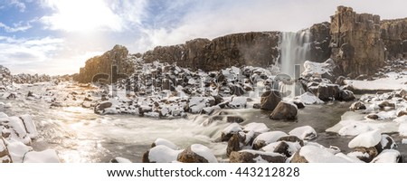 Oxararfoss Waterfall in the winter in pingvellir valley National Park in Iceland panorama