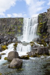 Oxararfoss waterfall summer day view, Thingvellir, Iceland. Icelandic waterfall