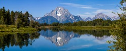 Oxbow Bend overlooking Mount Moran with a beautiful reflection in Jackson Lake in Grand Teton National Park in Wyoming