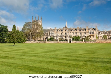 Oxford University playing fields in front of Merton
