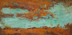 Oxidized copper patina and iron oxide in original painting by Paul Seftel
