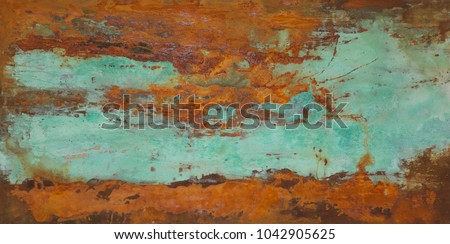 oxidized copper patina and iron ...