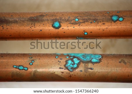 Oxidized Copper Pipes. Close up of Oxidation on Copper Central Heating Pipes Foto d'archivio ©