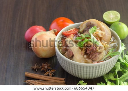 Oxtail soup, halal food, delicious, Muslim food in white